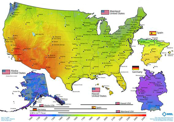 Solar Grid Parity Climate Etc - Us insolation map